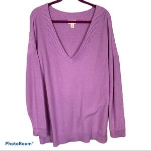 Caslon purple knit cotton sweater sz 3X